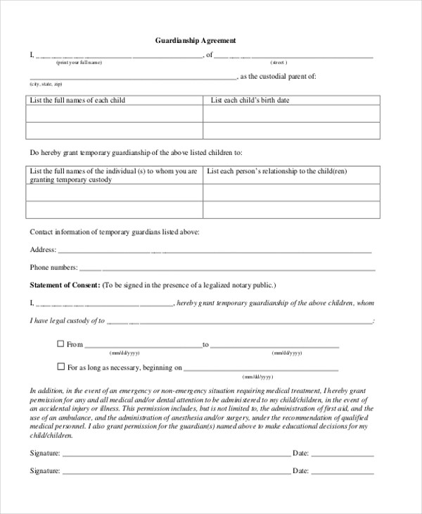 Sample Guardianship Form - 12+ Free Documents in PDF - temporary guardianship form