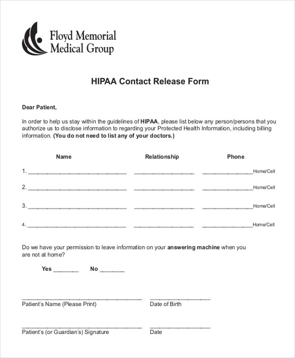 Hipaa Release Form Sample Medical Records Release Form Download