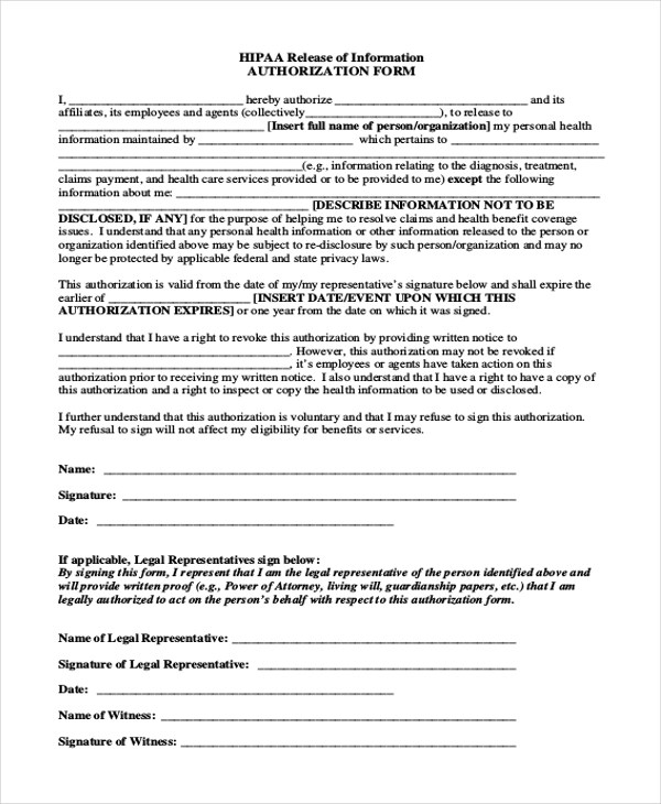Beautiful Hipaa Authorization Form Pictures  Best Resume Examples
