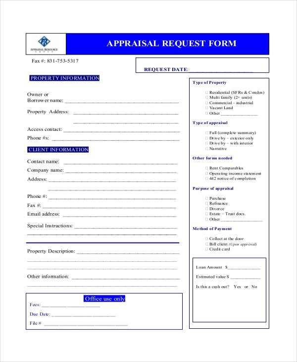appraisal request form - Pinephandshakeapp