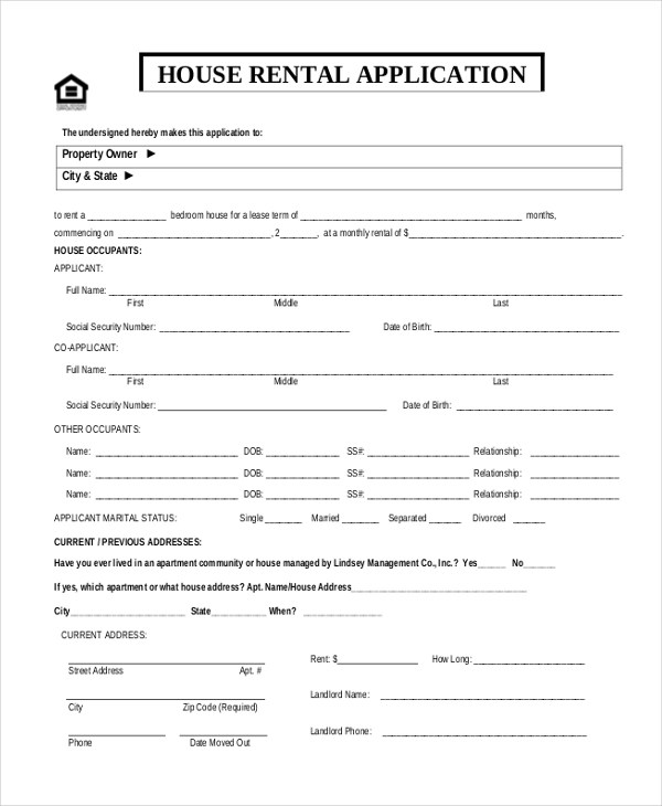 11+ Sample Rental Application Forms - Free Sample, Example, Format