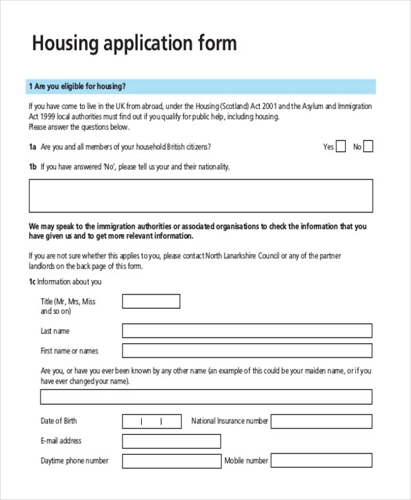 Sample Housing Application Form - 10+ Free Documents in PDF - application form example