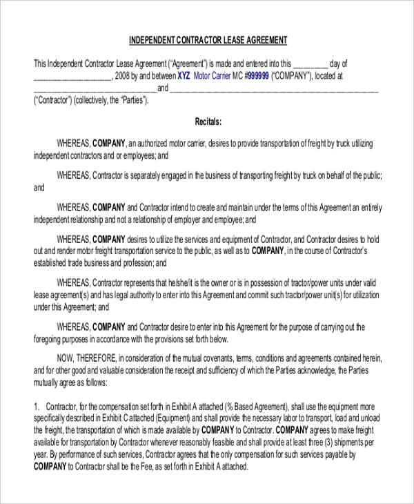 Owner Operator Lease Agreement Sample car lease agreement - lease agreements sample
