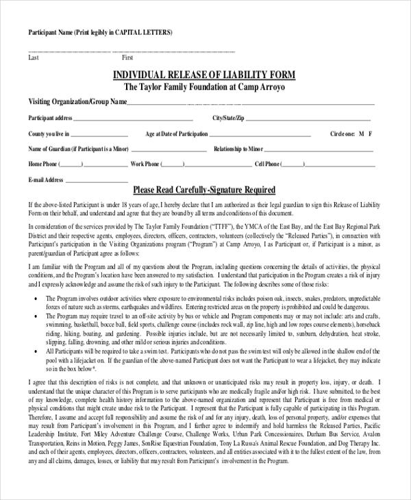 Letter Of Release Of Liability - Fiveoutsiders