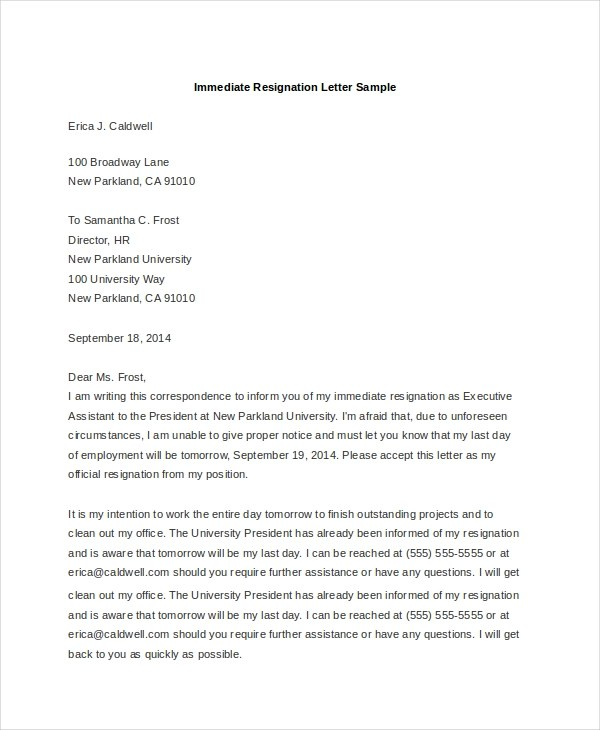 how to write an immediate resignation letters