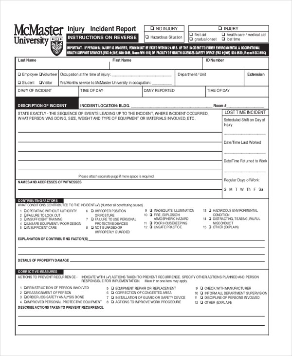 Sample Incident Report Form - 11+ Free documents in PDF - injury incident report template