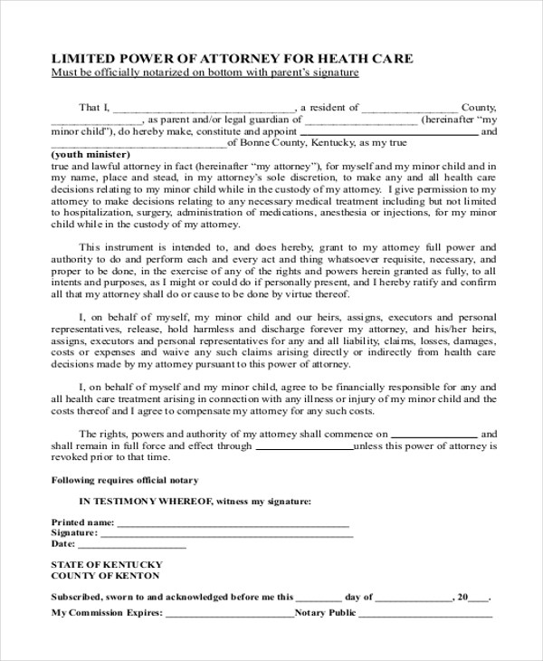 kentucky limited power of attorney form