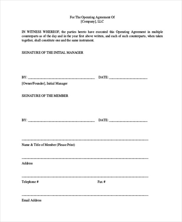Sample Operating Agreement Form - 10+ Free Documents in word, PDF - sample operating agreements