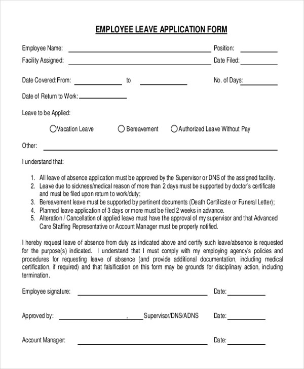 Sample Employee Application Form - 11+ Free Documents in PDF - format of leave application form