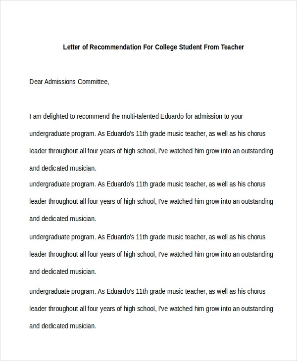 Sample Recommendation Letter For Student - Free Documents in PDF, Doc - letters of recommendation from a teacher
