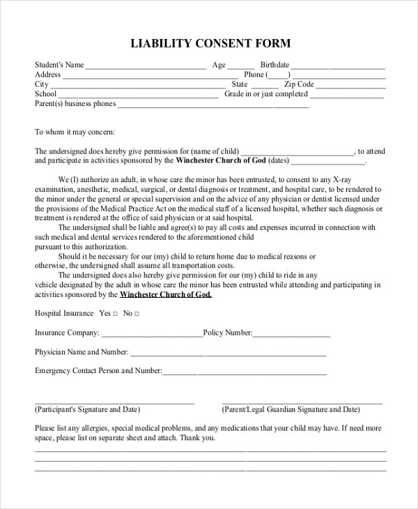 Sample Liability Form - 13+ Free Documents in PDF
