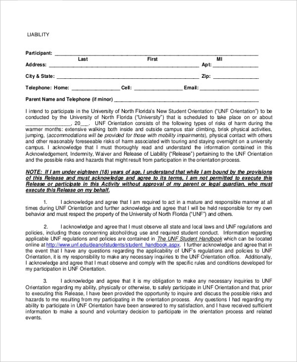 Sample Liability Form - 13+ Free Documents in PDF - liability release template