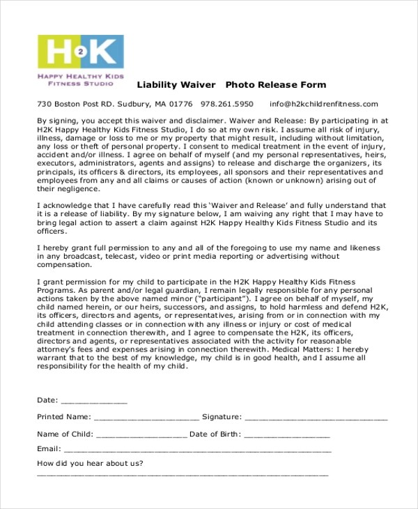 liability waiver form free - Hizlirapidlaunch - liability waiver template word