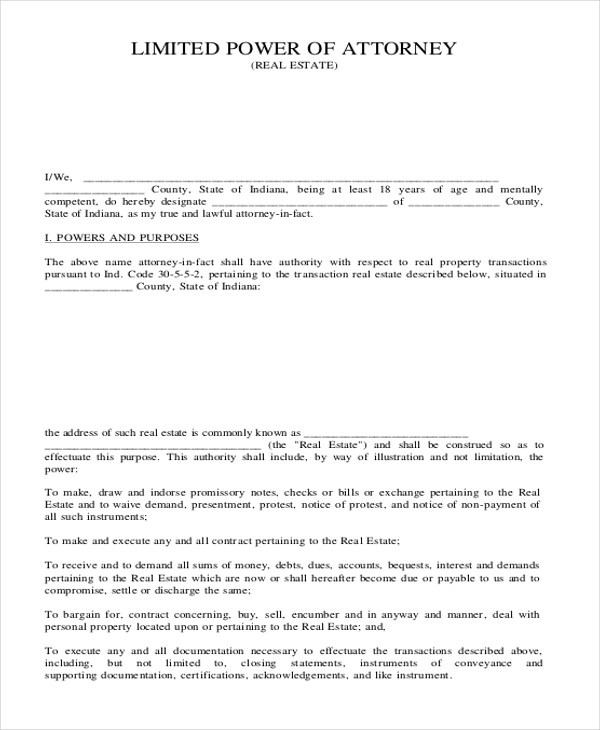 Sample Limited Power of Attorney Form - 10+ Free Documents in Doc, PDF