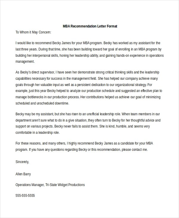 Sample Recommendation Letter Format - 8+ Free documents in PDF, Doc