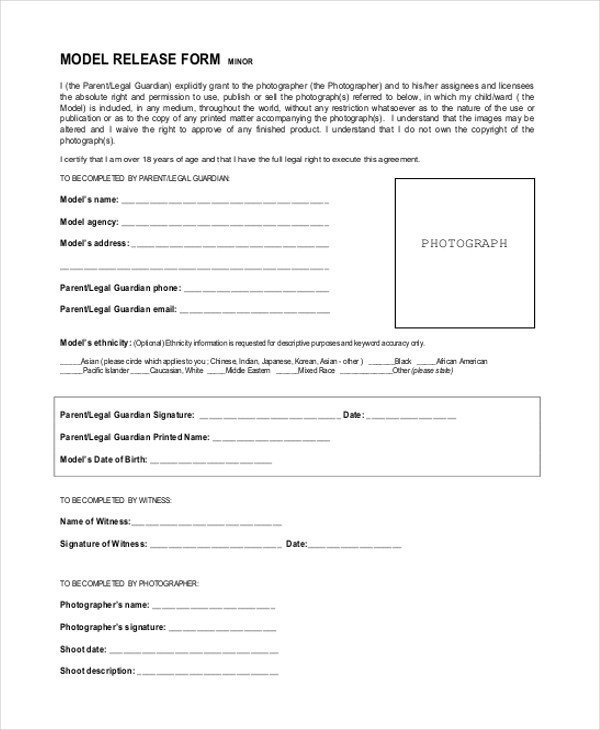 ... Sample Model Release Form   11+ Free Documents In PDF   Photographer  Release Forms ...