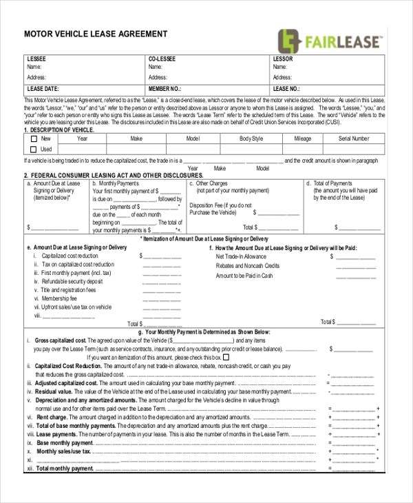 Sample Lease Agreement Form - 9+ Free Documents in Doc, PDF - sample vehicle lease agreement