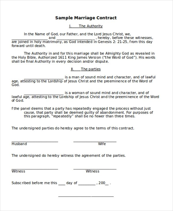 Sample Marriage Contract Form - 8+ Free Documents in Doc, PDF - marriage contract