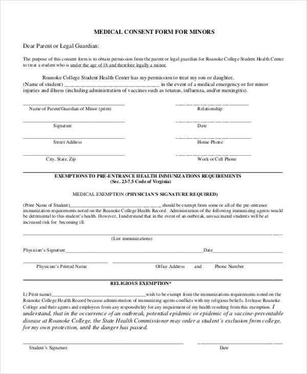11+ Sample Consent Forms Sample Forms - vaccine consent form template