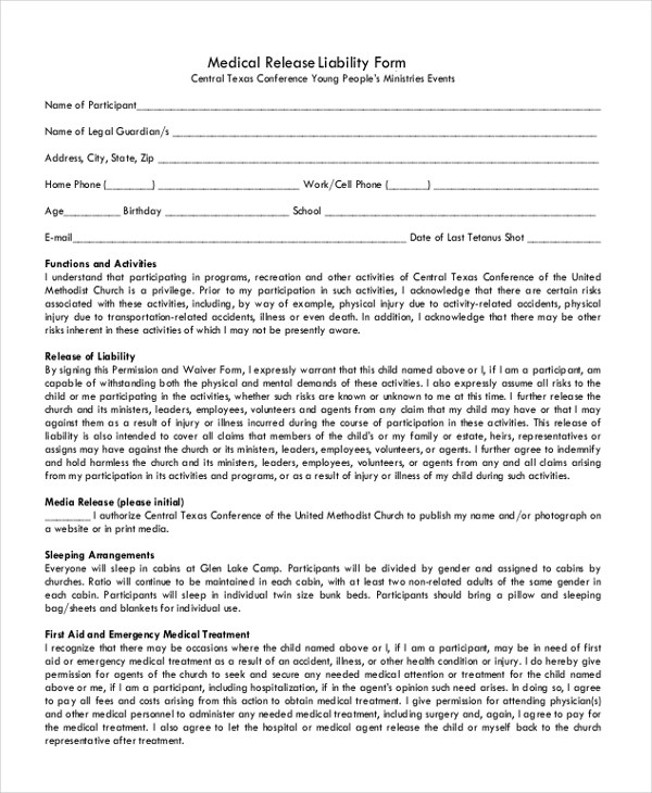 Release Of Liability Form. accident liability release form laperlita ...