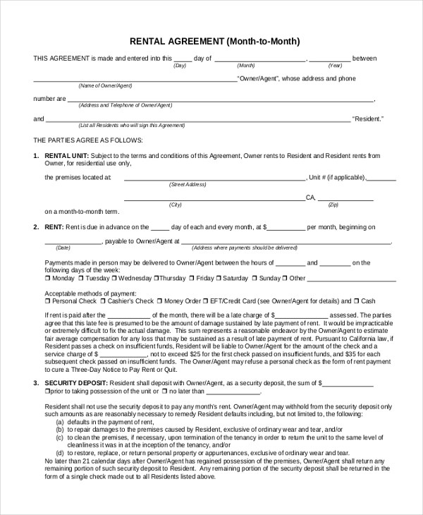 Sample Month to Month Rental Agreement Form - 8+ Free Documents in - month to month lease agreement example