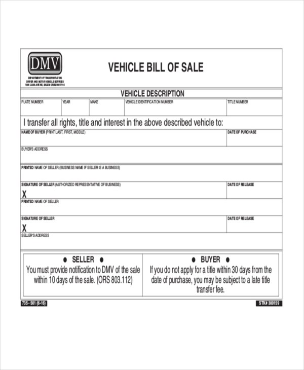 dmv vehicle bill of sale form - Minimfagency