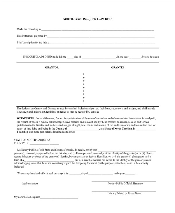 Sample Quick Claim Deed Form - 8+ Free Documents in PDF - Quick Claim Deed