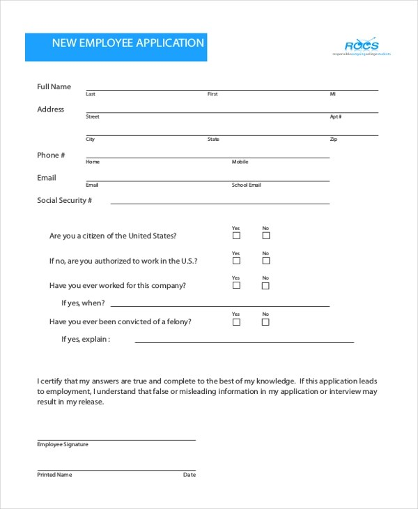 Perc Card Application Form State Of Illinois Sample Employee Application Form 11 Free Documents In Pdf