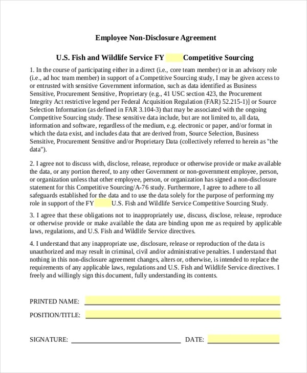 Non-Disclosure Agreement Sample Form - 10+ Sample, Example, Format