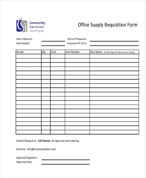 Requisition Form In Doc