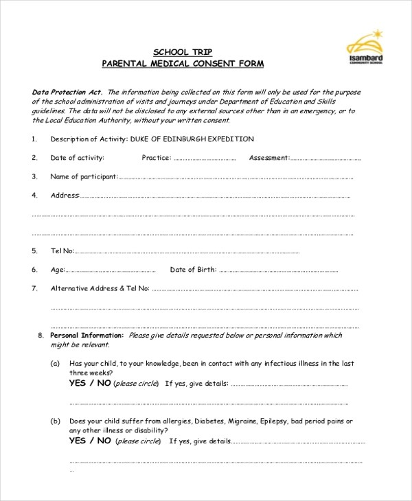 Sample Medical Consent Form - 11+ Free Documents in Doc, PDF - sample child medical consent form