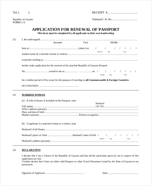 Sample Passport Application Form - 8+ Free Documents in PDF - passport renewal application form