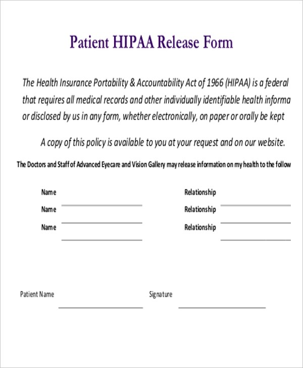 Release Form Hipaa  Cover Letter Sample Unknown Recipient