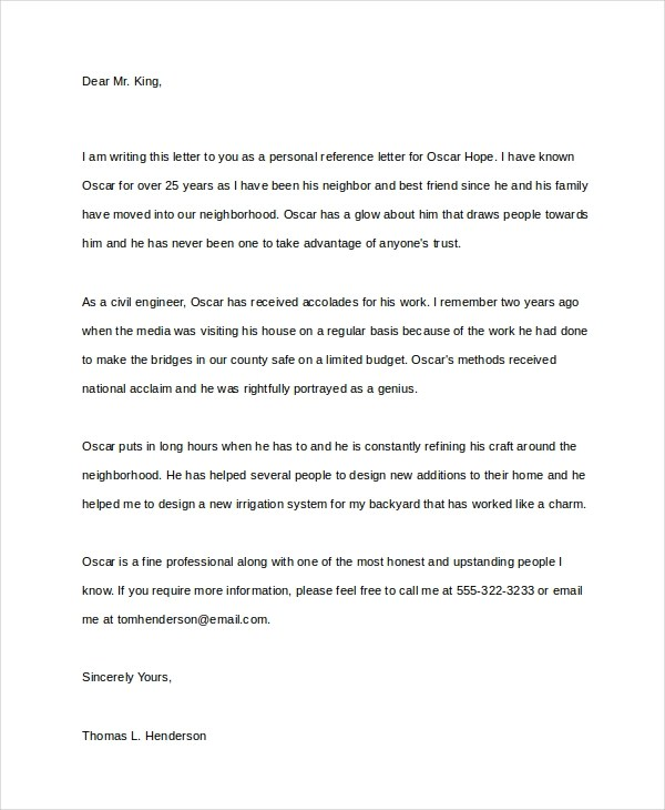 Personal Letter of Recommendation Sample - personal letter of recommendation sample