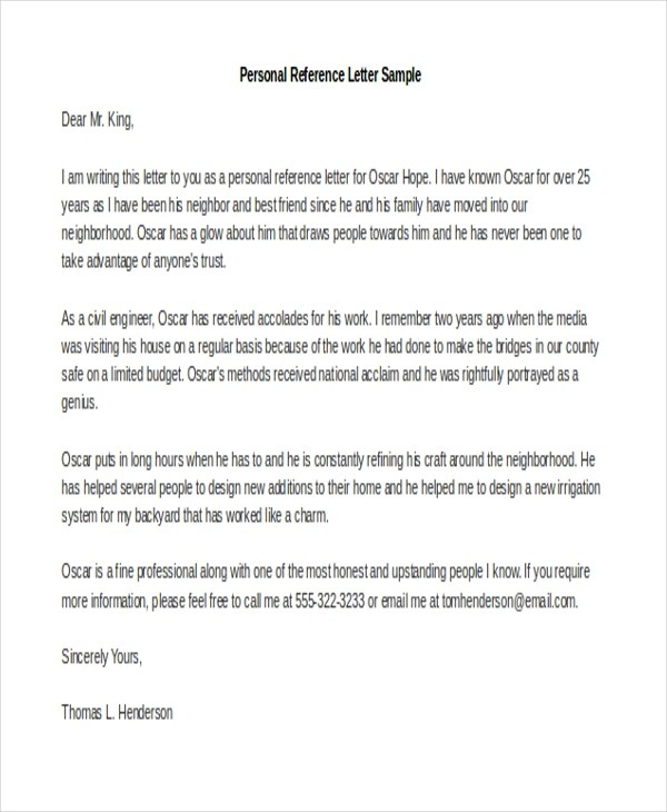 personal reference letter template – Letter of Personal Recommendation