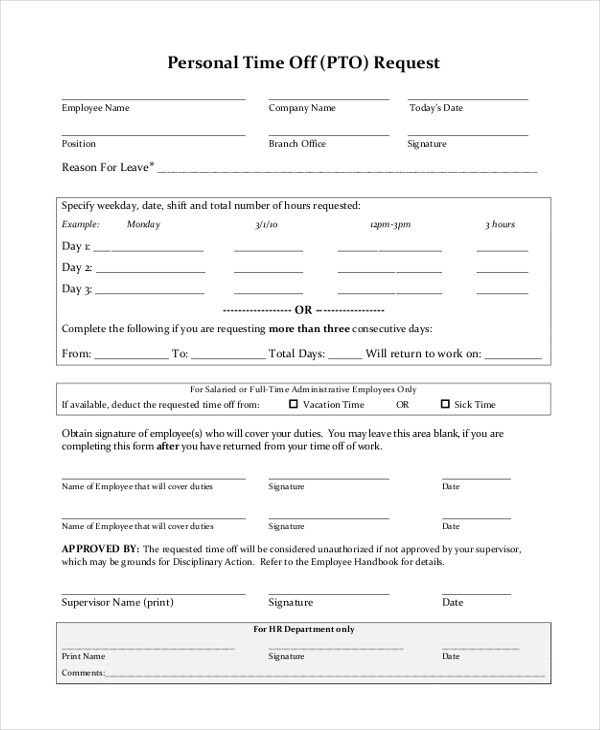 Sample Time Off Request Form - 12+ Free Documents in Doc, PDF - time off request forms