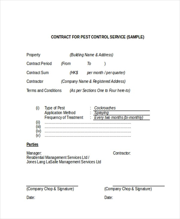 Sample Service Contract Form - 9+ Free Documents in Doc, PDF
