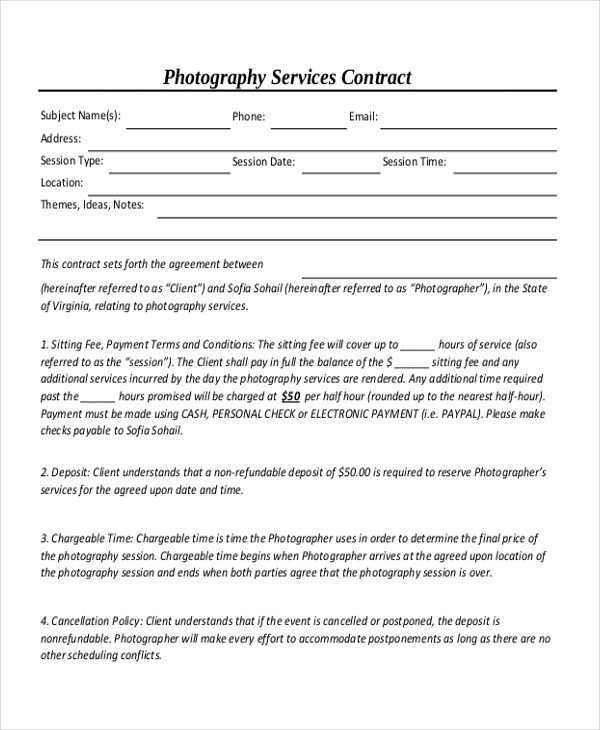 Sample Photography Contract Form - 10+ Free Documents in Doc, PDF - photography services contract