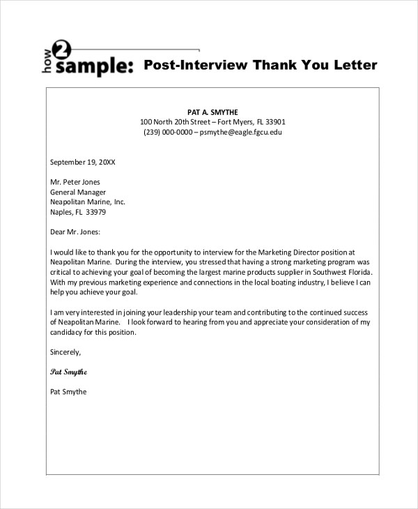 Sample Thank You Letter After Interview - 8+ Free Documents in PDF, Doc