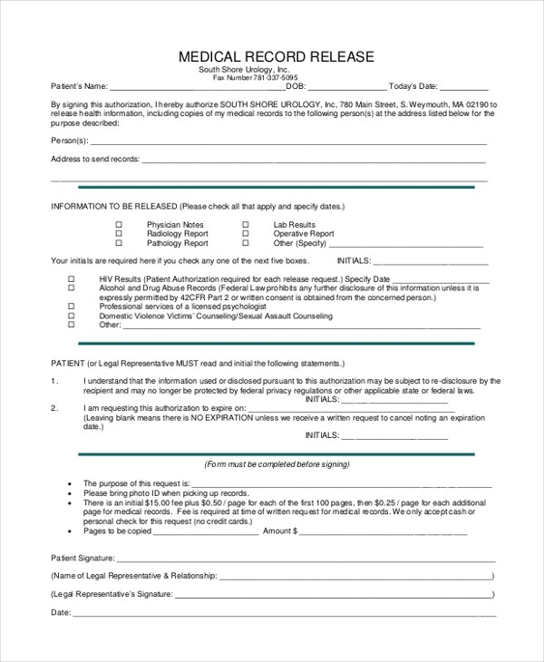 Medical Record Form Template  NodeCvresumePaasproviderCom