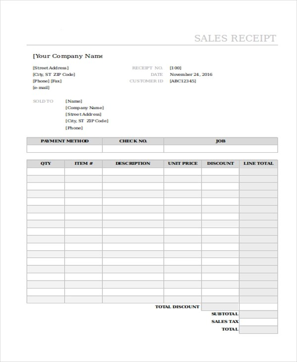 Sample Sales Receipt Form - 10+ Free Documents in Excel, PDF - printable sales receipts