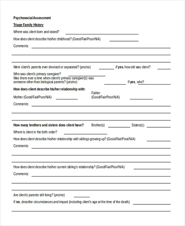 Sample Psychosocial Assessment Form - 8+ Free Documents in Doc, PDF