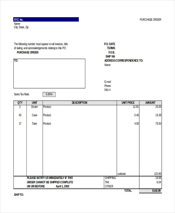 purchase order format xls
