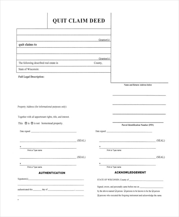 Sample Quitclaim Deed Form 9 Free Documents In Pdf Quick Deed Form