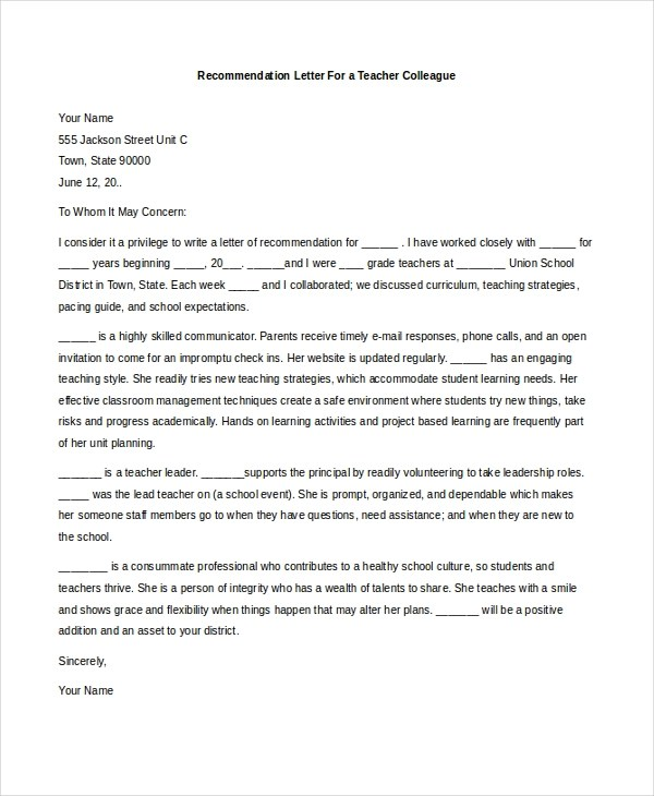 Sample Teacher Recommendation Letter - 8+ Free Documents in PDF, Doc - reference letter for school