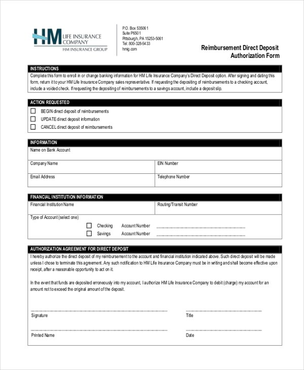 Sample Direct Deposit Authorization Form - 10+ Free Documents in PDF - direct debit form
