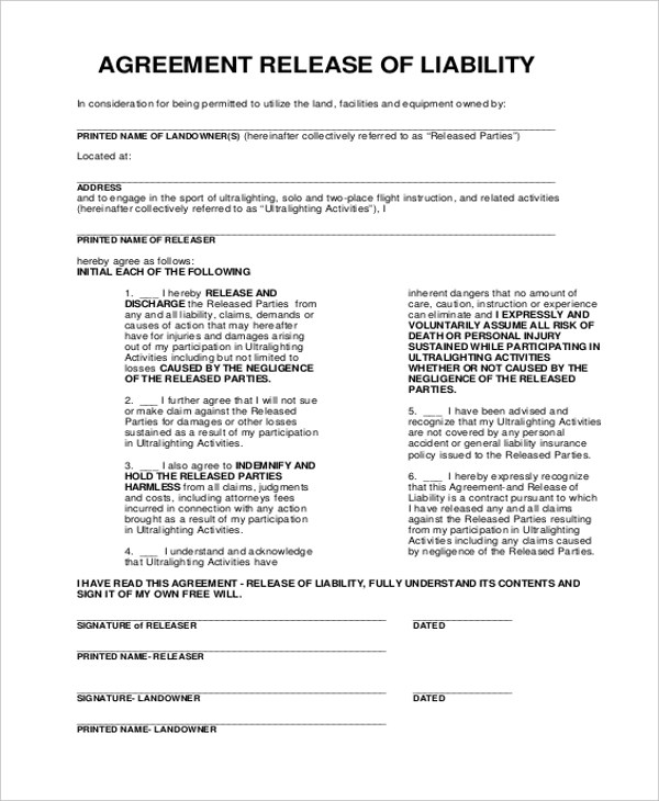 release agreement – Release of Liability Agreement