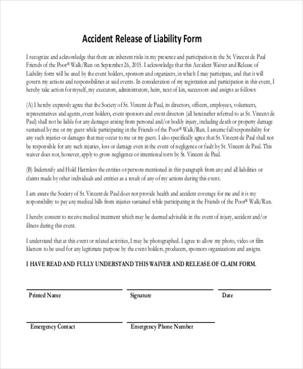 Liability Release Form Buy Sample Forms Property Damage Release - free release of liability form