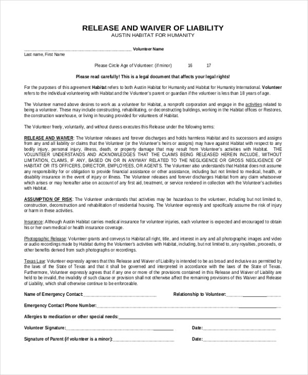 Sample Release of Liability Form - 11+ Free Documents in Word, PDF - liability waiver template word