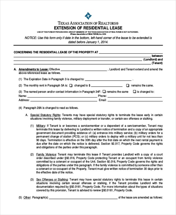 Texas Residential Lease Agreement Sample Texas Residential Lease